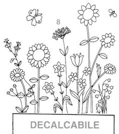 Embroidery Pattern from Gallery. Embroidery Flowers Pattern, Embroidery Art, Flower Patterns, Flower Designs, Embroidery Stitches, Flower Line Drawings, Botanical Line Drawing, Doodle Drawings, Doodle Art