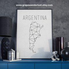 Argentina map Argentina art Argentina wall art by GrapeWanderlust