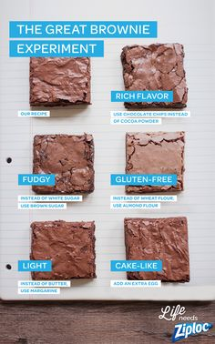 Experiment with different ingredients to get the perfect brownie, every time. Try adding an egg for cake-like brownies, or brown sugar for a dense, chewy brownie. Swap in ingredients like almond flour (gluten-free and gooey) margarine (soft and light), an Cake Like Brownies, Chewy Brownies, Chocolate Brownies, Cocoa Powder Brownies, Box Brownies, Light Brownies Recipe, Chocolate Chip Cookies Chewy, Almond Flour Brownies, Easy Brownies
