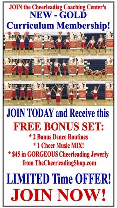 Stop spending HOURS of your time searching for cheerleading cheers, dances and curriculum. Get it ALL in 1 place and receive FREE BONUSES including 2 Free Choreographed Dance Routines, Free Cheer Music Mix, and $45 in GORGEOUS Cheerleading Jewelry from TheCheerleadingShop.com. Check out all out TODAY on CheerleadingCoachingCenter.com.