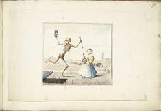 Gesina ter Borch | Dood naast een klein meisje, Gesina ter Borch, c. 1656 | De Dood dansend naast een meisje. Links op de voorgrond is het graf van het meisje te zien met de datum waarop de tekening gemaakt is of waarop het meisje is gestorven. Rechts loopt een lange begrafenisstoet naar de ingang van een kerk.