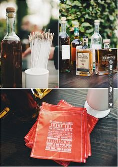 gold drink stirrers and cute napkin ideas | VIA #WEDDINGPINS.NET