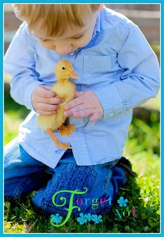 cute shot ...but it looks like he is holding the duck a little tight