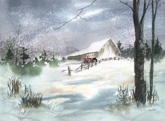 winter watercolor scenes | Winter Barn And Tractor is a painting by Sean Seal which was uploaded ...