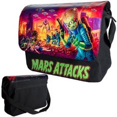 Mars Attacks Mega Deluxe Messenger Bag - New at GothicPlus.com - your source for gothic clothing jewelry shoes boots and home decor. #gothic #fashion #steampunk