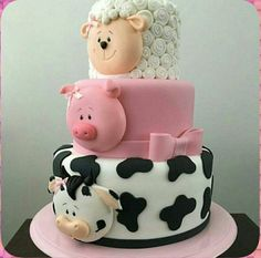 Cute animal cake for kids. Cow, pig and sheep. Professional 3 tier cake that is pretty and neat. Cow Cakes, Baby Cakes, Cupcake Cakes, Pink Cakes, Farm Animal Cakes, Farm Animals, Animal Cakes For Kids, Farm Cake, Barnyard Cake