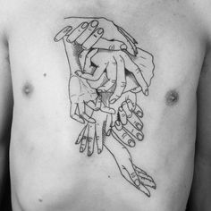 Intertwined Hands on Chest - http://www.samurais-tattoo.com/intertwined-hands-on-chest/