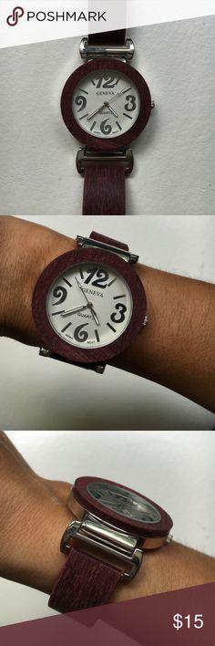 Geneva Watch round bracelet watch, brown wood, stainless back, 35 mm Jewelry Bracelets