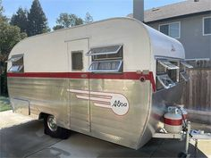 """Original 50's """"Canned-Ham"""" trailer. It's been to four rallies this year and is ready to go! We'll be at the Plymouth, CA 49er RV Park Vintage Camper Trailer R... Camper Trailer For Sale, Vintage Campers Trailers, Camper Trailers, Canned Ham, Rv Parks, Plymouth, Recreational Vehicles, The Originals, Vintage Caravans"""