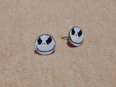 Jack Skellington Earrings, Skeleton Earrings, Jack Skellington Stud Earrings, Skull Earrings, Nightmare Before Christmas Earrings, Skulls by VetroJewelryDesigns on Etsy