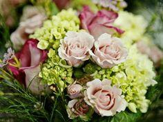 Green Hydrangeas  Pink Roses  Blush Pink Spray Roses  Tree Fern  Stargazer Lillies