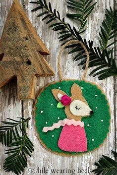 No-Sew Felt Woodland Ornaments including a deer, fox, owl, monkey, hedgehog, pig, raccoon and bear.