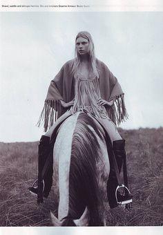 Aline Weber in Hermès shawl, saddle, and stirrups