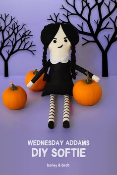 DIY Wednesday Addams Softie with template included from barley & birch #Halloween #DIYHalloween #DIYSoftie #SewASoftie #SewingWithKids #DIYKids#KidsCrats #SewingDIY
