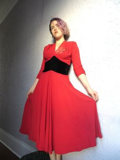 3def790ead 40 s Vintage Red Crepe Black Velvet Sweetheart Dress with faded flowers  small medium Vintage Clothing