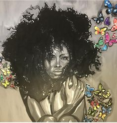Custom art for me @glogirl23 by @kingmade4ever on IG. Dope black artist. The piece is called #newbeginnings ❤ #blackart #melaninart #naturalhair #blackgirlmagic