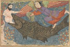 """Jonah and the Whale"", Folio from a Jami al-Tavarikh (Compendium of Chronicles) Object Name: Painting Date: ca. 1400 Geography: Iran Culture: Islamic Medium: Ink, opaque watercolor, gold, and silver on paper Dimensions: H. 13 1/4 in. (33.7 cm) W. 19 1/2 in. (49.5 cm) Classification: Codices Credit Line: Purchase, Joseph Pulitzer Bequest, 1933 Accession Number: 33.113"