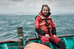 21 Feb, 2016 Jacob Namminga, Greenpeace nuclear specialist from the Netherlands, working onboard Asakaze research vessel in front of Fukushima Daiichi nuclear plant, five years after the accident. The environmental organization has launched an underwater investigation into the marine impacts of radioactive contamination resulting from the 2011 nuclear disaster on the Pacific Ocean.