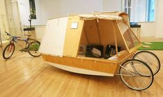 Boat Plans - A micro houseboat that you can tow with your bike - Master Boat Builder with 31 Years of Experience Finally Releases Archive Of 518 Illustrated, Step-By-Step Boat Plans Wooden Boat Plans, Wooden Boats, Boat Bed, Shanty Boat, Portable Shelter, Kombi Home, Water Bed, Boat Design, Small Boats