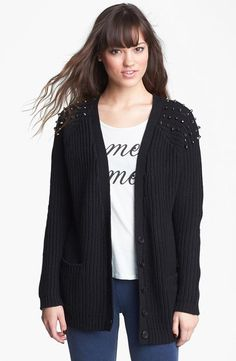 Just the right touch of edgy: Studded cardi.