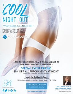 "Lose the love handles and enjoy a night of fun, refreshments, and appetizers at our ""Cool Night Out"" event on Wednesday, March 18th. See more details below!"