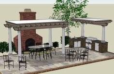 Outdoor Kitchen designs with Pergola shade structures,Outdoor Rooms & Pavilions