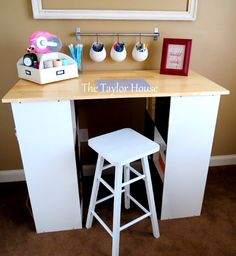 DIY Craft Table The sides are made out of storage cubes. assemble the Cubes & DIY Desk for Kids | Pinterest | Cube Desks and Stuffing