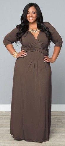 Plus Size Toffee Desert Rain Maxi Dress