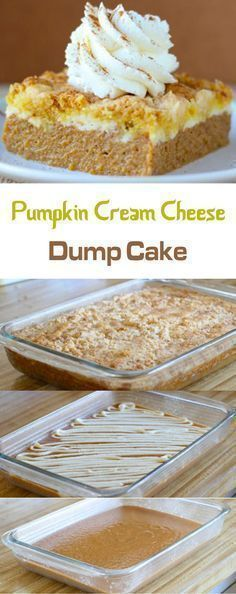 Pumpkin Cream Cheese Dump Cake More (dessert recipes cream cheese) Köstliche Desserts, Delicious Desserts, Dessert Recipes, Holiday Desserts, Thanksgiving Deserts, Christmas Sweets, Christmas Ideas, Poke Cake Recipes, Poke Cakes