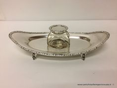 Oggettistica d`epoca - Calamai Calamaio a barchetta Elkington - Antico calamaio a barchetta in argento Immagine n°1