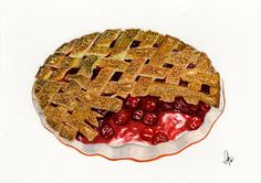 Check out this item in my Etsy shop https://www.etsy.com/listing/237137015/cranberry-pie-original-watercolor