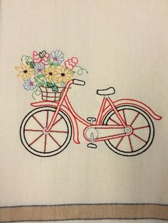Embroidered Tea Towel With Bicycle And Flower Basket Amazing Pictures