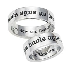 """""""Gra anois agus go deo"""" Gaelic poesy ring from Pyramid Collection Jewelry Shop, Fashion Jewelry, Unique Jewelry, Jewellery, Jewelry Rings, Pyramid Collection, Celtic Wedding Rings, Wedding Bands, Stainless Steel Jewelry"""
