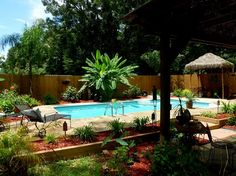 """i did not know this could be done >>""""My husband found this pool on craigslist. The owner wanted to have it dug up from her yard. He rented equipment, dug it up and reinstalled it in our backyard"""" I been searching craigslist and no pools smdh hahahah Tropical Backyard, Backyard Pool Landscaping, Backyard Paradise, Backyard Retreat, Tropical Landscaping, Backyard Ideas, Pool Fence, Backyard Projects, Fence Ideas"""