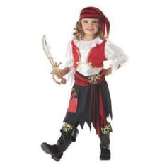 Penny the Pirate Girl costume includes dress with attached vest, bandanna, waist tie with skull and boot tops with skulls. This adorable Pirate Costume for girls is . Diy Pirate Costume For Kids, Cute Costumes For Kids, Homemade Pirate Costumes, Clever Halloween Costumes, Toddler Costumes, Girl Costumes, Costume Ideas, Pirate Party, Princess Costumes