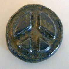 PEACE SIGN Pocket Stone  Ceramic  Antique Blue by InnerArtPeace, $6.00