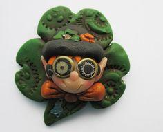 Steampunk St. Patrick's Day Leprechaun Pin by SteampunkChristmas