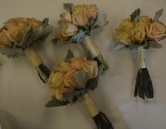 Bridesmaid bouquets for Jessica with Sahara roses and dusty miller - vintage style