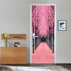 3D-Pink-Trees-Rows-Door-Wall-Mural-Photo-Wall-Sticker-Decal-Wall-AJ-WALLPAPER-AU