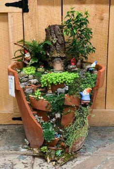 Garden Landscaping New Zealand Gnome garden Broken Pot Garden, Fairy Garden Pots, Indoor Fairy Gardens, Fairy Garden Houses, Gnome Garden, Miniature Fairy Gardens, Pot Jardin, Little Gardens, Home Garden Design