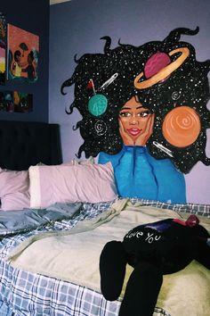 57 New Ideas Wall Painting Mural Creative Diy Room Decor, Bedroom Decor, Bedroom Ideas, Paint Decor, Wall Painting Decor, Bedroom Colors, Bedroom Wall, Wall Decor, Aesthetic Room Decor