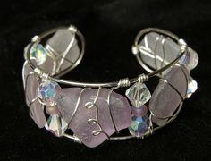 Sea Glass Cuff Bracelet in Amethyst or Lavender