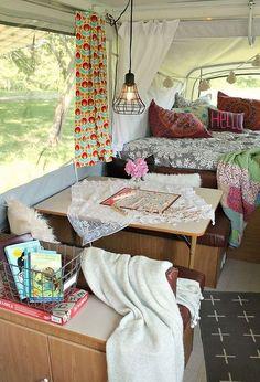 boho inspired pop up camper re do, home decor, outdoor living