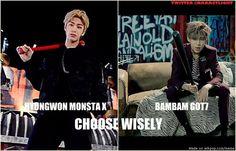 Tough choice... | Monsta X Hyungwon & Got7 Bambam