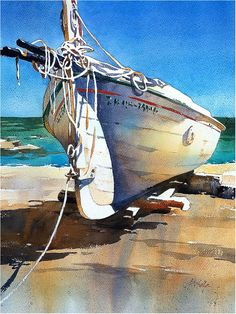 Boat - Spain Thomas W Schaller - Watercolor. on #Fabriano Artistico. 22x15 Inches - 17 July 2016.