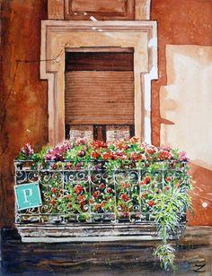 Hostel Balcony, Bilbao, watercolour by Zaira Dzhaubaeva, Russia. Available bpbilbao@gmail.com
