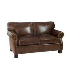 Canapé 2 places en cuir marron