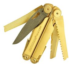 """Leatherman Wave Multi-Tool, """"Shogun Edition"""" with Damascus Steel Blade and 24k Gold Finishing Leatherman, mods by Texas Tool Crafters http://www.amazon.com/dp/B0117Z3FL2/ref=cm_sw_r_pi_dp_fJTKwb1GW9TBQ"""