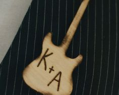 Wood Guitar Wedding Pin Boutonniere Personalized Groom Rustic PUNK (item E10484)