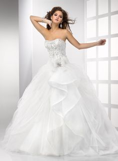 Magical Tulle Ball Gown Embroidered Cap-sleeves Scoop Neckline Wedding Dress